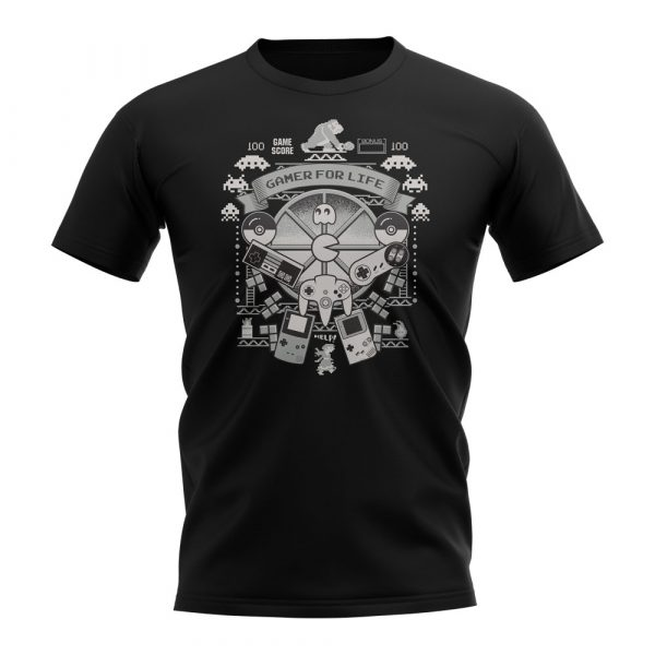 Black Short Sleeved Shirt - Gamer For Life T-Shirt