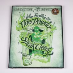 Licensed and Exclusive Floo Powder Print in Glass and Metal Display Frame