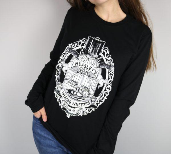Weasley's Wizard Wheezes Long Sleeved T-Shirt (Black)
