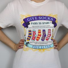 Exclusive Give Socks - Free Elves Short Sleeved T-Shirt (White)