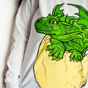 Wizardry Baby Dragon and Egg Long Sleeve T-Shirt (White)