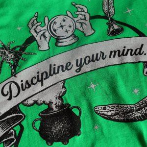 Wizardry Discipline Your Mind Short Sleeve T-Shirt (Green)