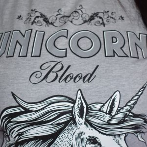 Wizardry Unicorn Blood Short Sleeve T-Shirt (Grey)